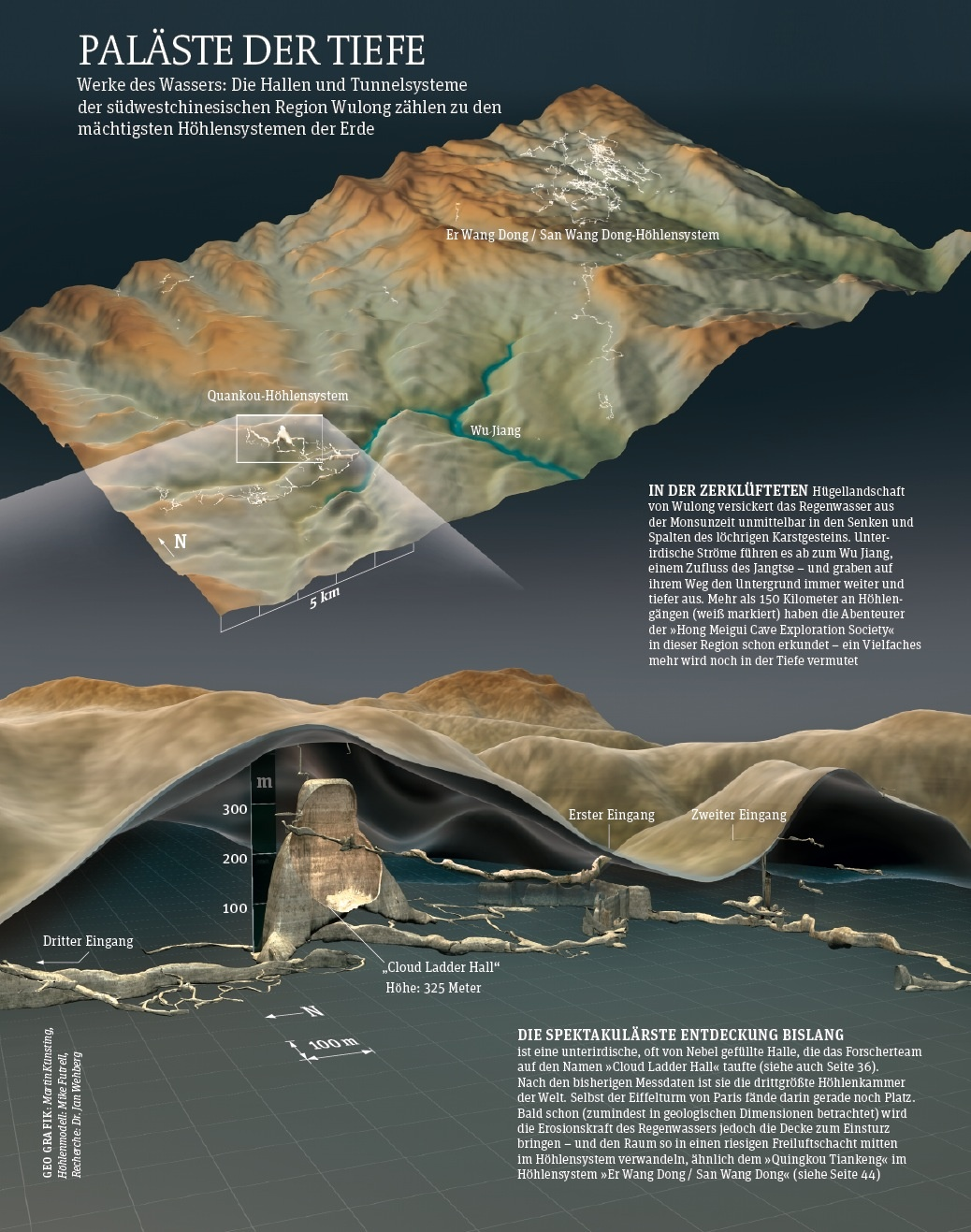 Cave data incorporated into GIS for use in a non-caving magazine. Image from: GEO magazine, March 2013.